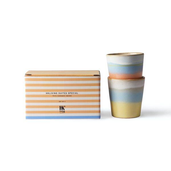 HKliving Suites Special: ceramic 70's mugs horizon set of 2-29105