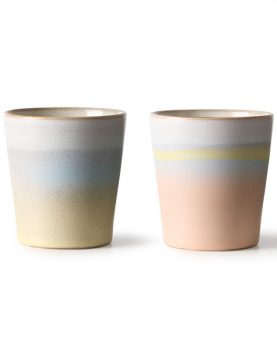HKliving Suites Special: ceramic 70's mugs horizon set of 2-0