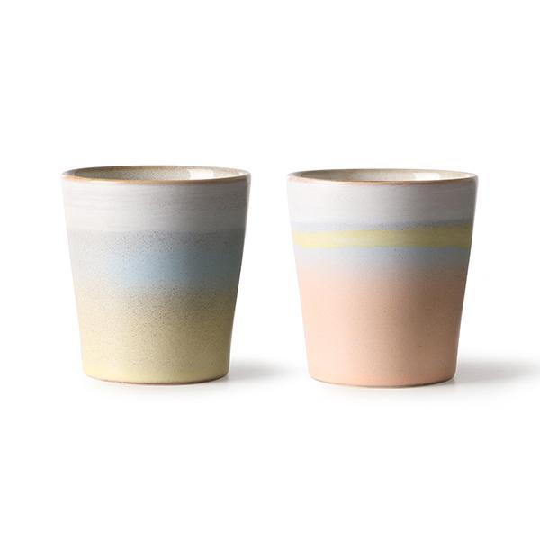 HKliving Suites Special: ceramic 70's mugs horizon set of 2-0
