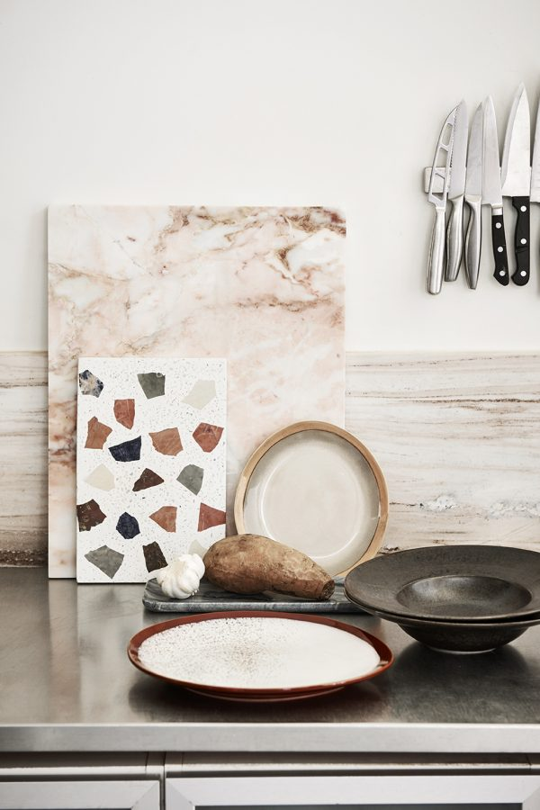 HKliving grey marble tray-29130