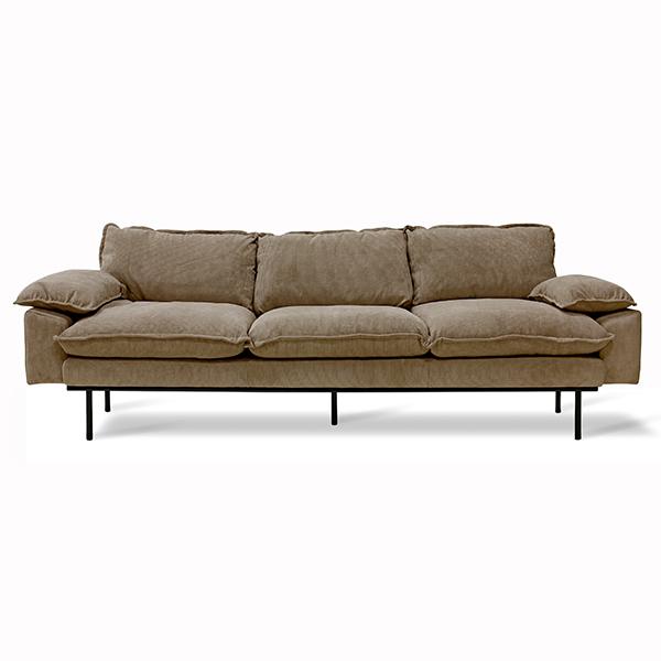 retro sofa: 4-seats, corduroy rib, brown-0