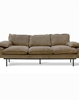 retro sofa: 3-seats, corduroy rib, brown-0