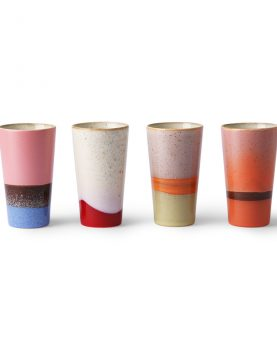 Hkliving ceramic 70's latte mugs set of 4-29361