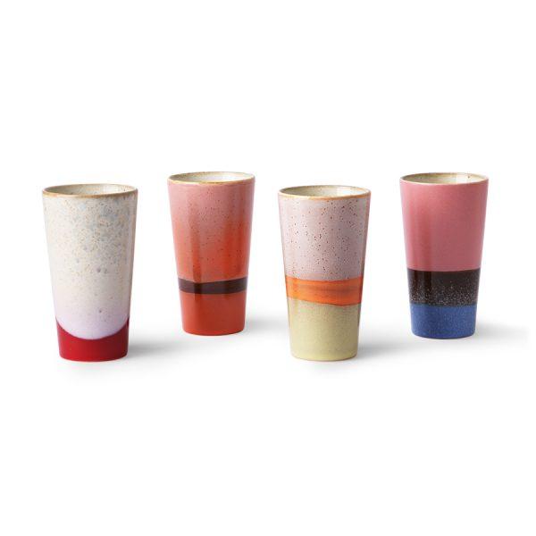 Hkliving ceramic 70's latte mugs set of 4-29362