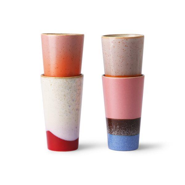 Hkliving ceramic 70's latte mugs set of 4-29363