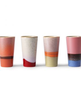 Hkliving ceramic 70's latte mugs set of 4-0