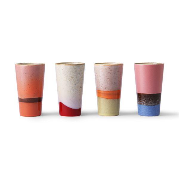 Hkliving ceramic 70's latte mugs set of 4-0