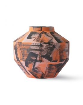 hand brushed ceramic vase orange/black-0