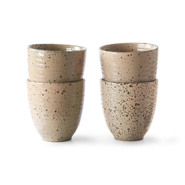 HKliving gradient ceramics: mok taupe (set van 4)-0