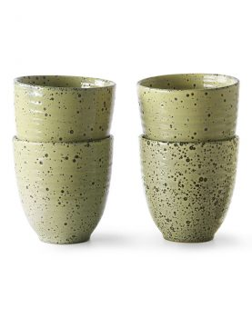 HKliving radient ceramics mok geel (set van 4) ACE6946
