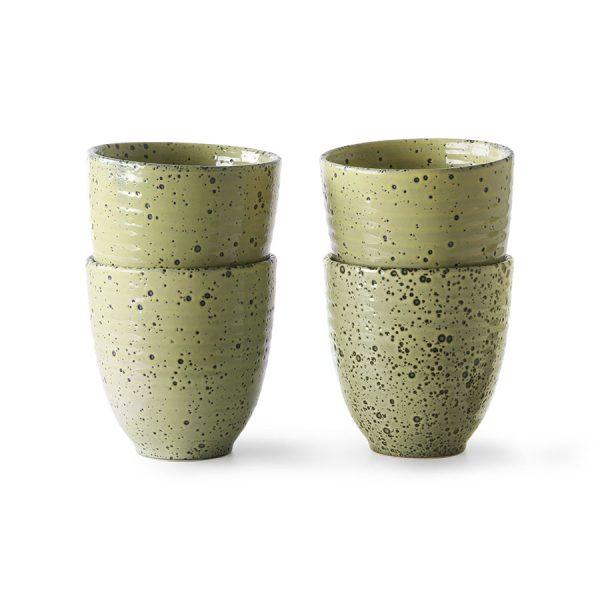 HKliving radient ceramics mok geel (set van 4) ACE6946