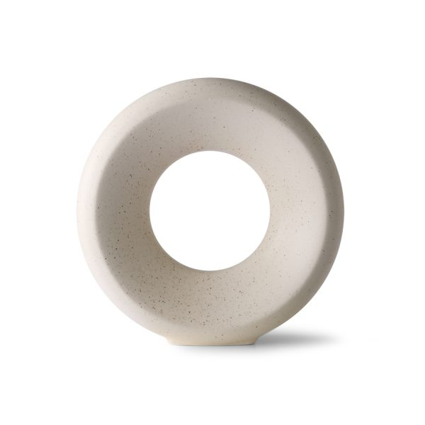 ceramic circle vase M white speckled-0