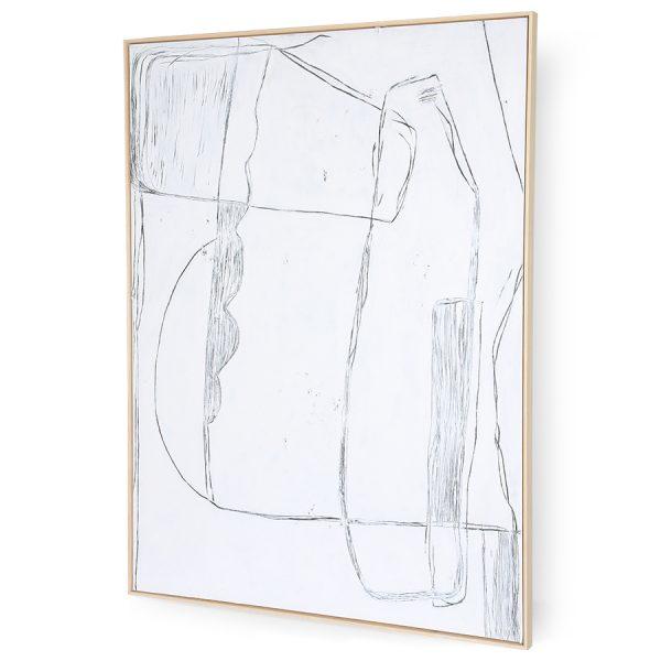 framed brutalism painting white 120x160cm