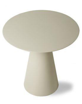 cream metal side table