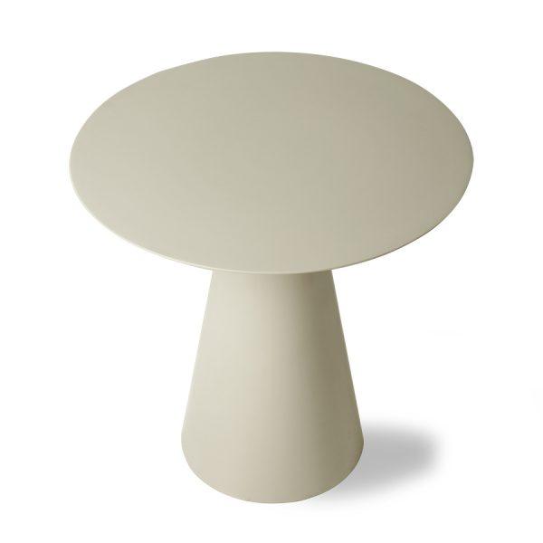 cream metal side table