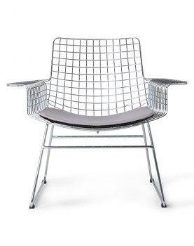 metal wire lounge chair silver with seat cushion