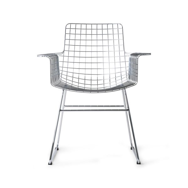 metal wire chair with arms silver