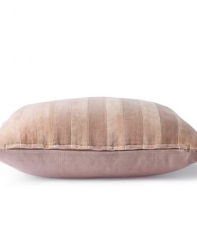 striped velvet cushion beige/liver (45x45)