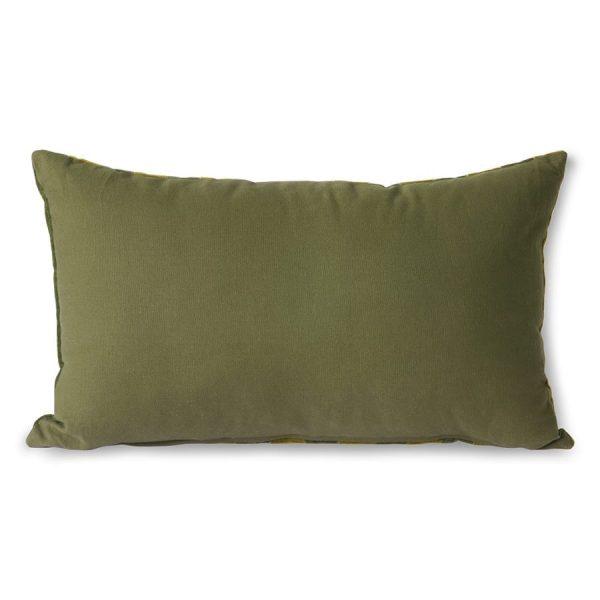 striped velvet cushion green/camo (30x50)