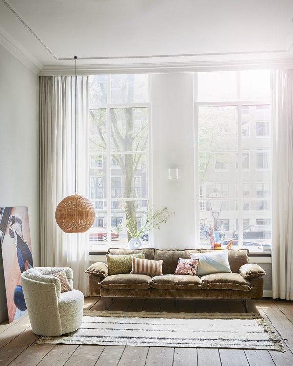 striped velvet cushion brown/natural (30x50)