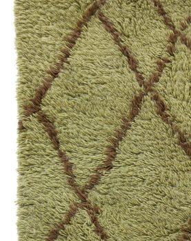 olive woolen rug brown zigzag (180x280)