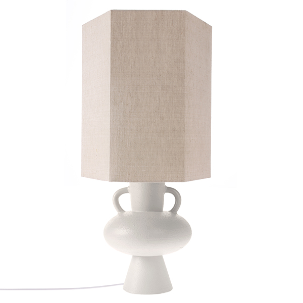 stoneware lamp base white L