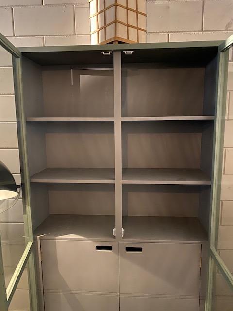 HKlliving vitrinekast kast display grijs nude hout 115x40x200cm (outlet)-31233
