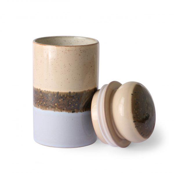 ceramic 70's storage jar: lake