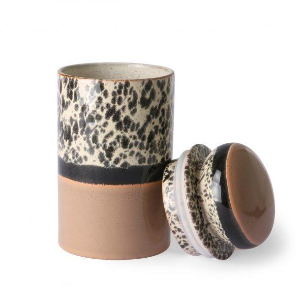 ceramic 70's storage jar: tropical