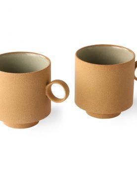 bold & basic ceramics: coffee mug ochre (set of 2)