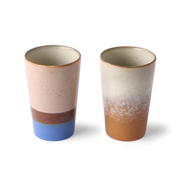 ceramic 70's tea mugs (set of 2)