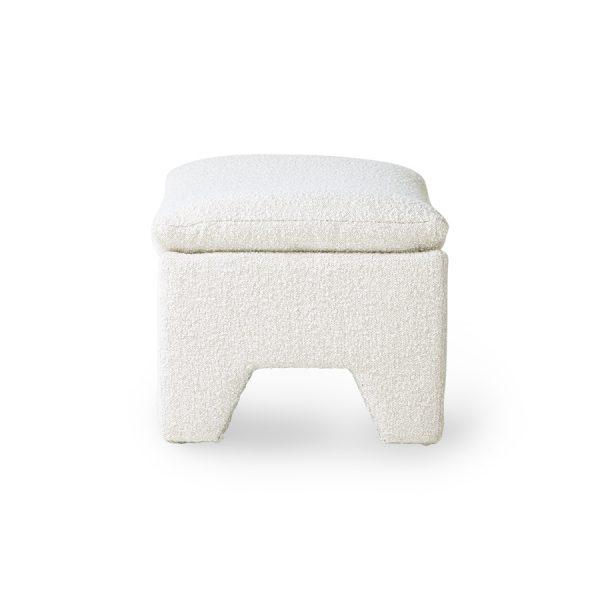 retro lounge ottoman boucle cream