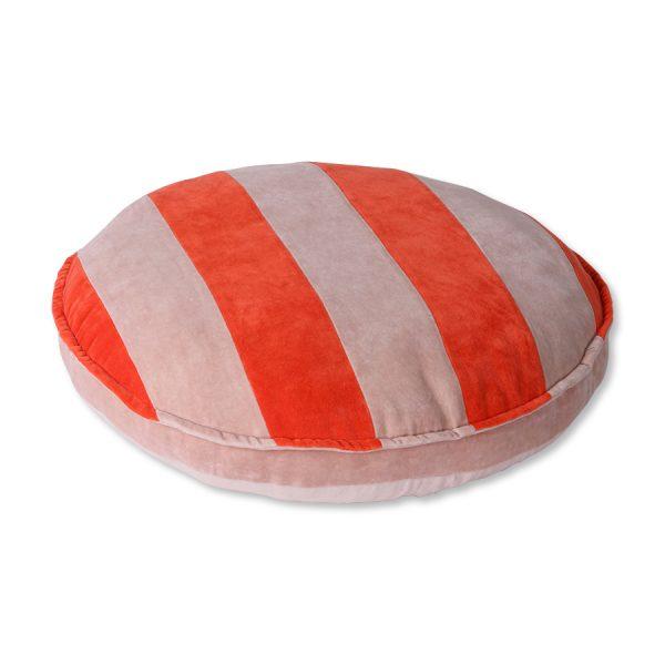 striped velvet seat cushion round red/pink (ø60)