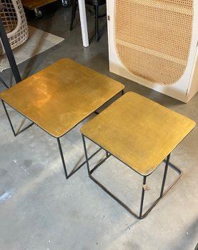 HK-living salontafel ijzer / messing set van 2 (outlet)