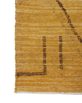 hand woven cotton rug ochre/brown (120x180)
