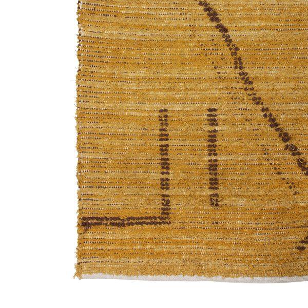 hand woven cotton rug ochre/brown (120x180)