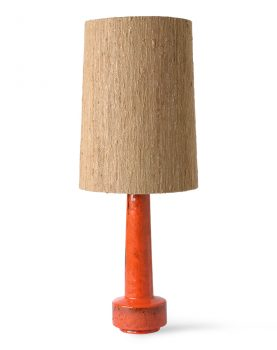 retro stoneware lamp base red
