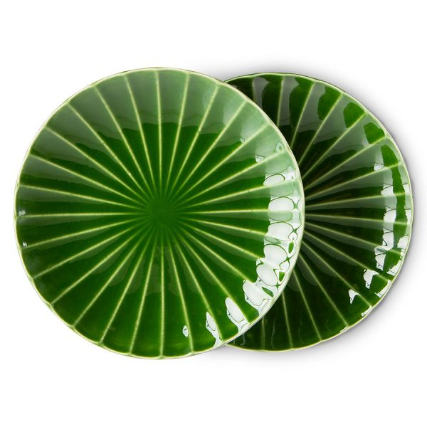 HKliving-the-emeralds-bord-ontbijtbord-ribbed-groen-ace7012